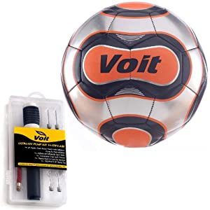 Buy Voit 12 Pack Size 5 Reflect Soccer Ball with Ultimate Inflating Kit - Silver and Orange Graphic by Voit