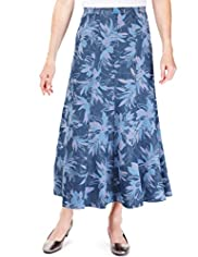 Classic Collection Panelled Iris Print Denim Skirt