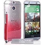 Yousave Accessories Coque La Nouveau HTC One M8 (2014) Etui Rouge / Clair Dur Goutte De Pluie Housse Avec Stylet