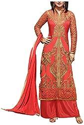 Fashions World Women's Georgette Dress Material (Peach)