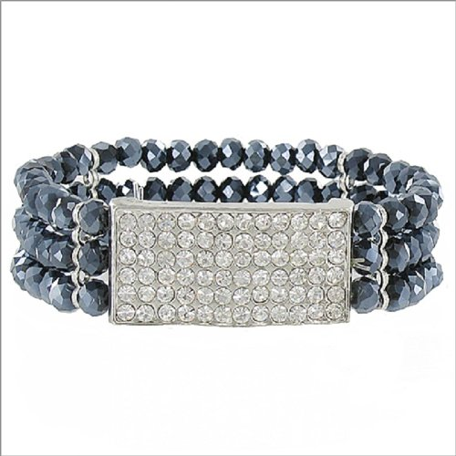 Three Line Crystal Bead Stretch Bracelet #041219