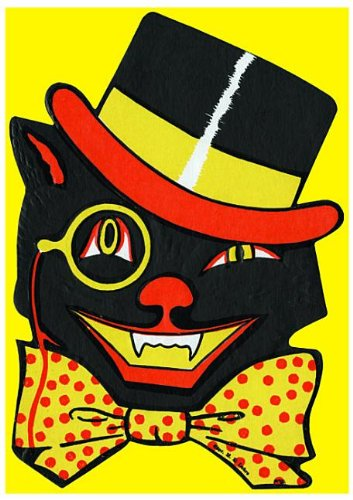 Winking black cat with bow-tie and top-hat - Halloween Greeting Card