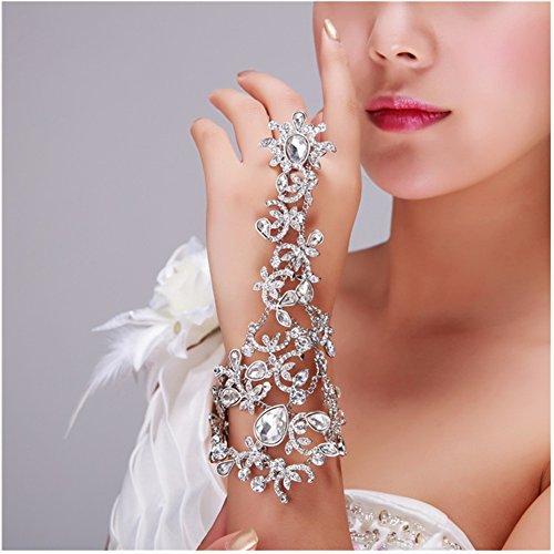 [Casualfashion Luxury Bridal Wedding Dress Accessories Rhinestone Chain Bracelet Bridemaid Hand Accessories Bracelets Bangles] (Dress Accessories)