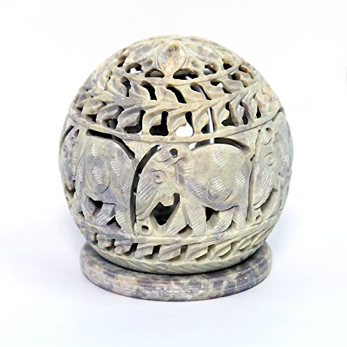 artist-haat-handmade-soapstone-candle-holder-with-elephant-shaped-carving-work-beige-35x35x4-inch-