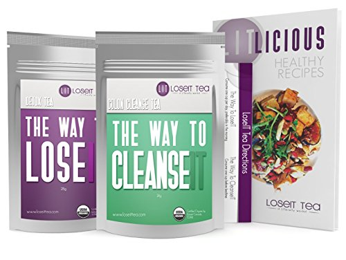 Weight Loss Tea – Doctor Formulated – Cleanse Detox Tea to Help Lose Weight. 14 Day Teatox for a Flat Tummy. 100% Organic Free Diet Book by LoseIT Tea.