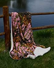 Pink Camo Sherpa Mink Throw Style Blanket - 50quot x 70quot