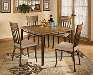 5 PC Wood And Metal Dining Room Set Table Chair Sets