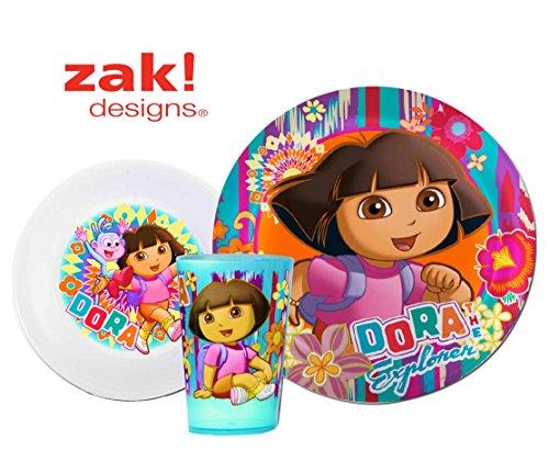 Dora the Explorer Toddler Dining Set - Plate, Bowl, Cup - 1