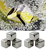 Aerb® Set of 6 Stainless Steel Whiskey Chilling Reusable Ice Cubes (Stainless Steel)