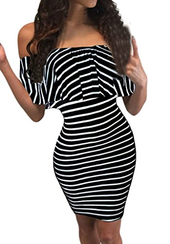 Shawhuwa Womens Sexy Striped Off Shoulder Ruffles Bodycon Mini Dress M Black 1 (Form Fitted Black Dress compare prices)