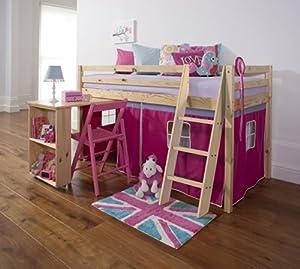 Mid Sleeper Wooden Pine Bunk Bed, Cabin bed+ Desk PINK