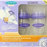 Lansinoh mOmma Bottle with NaturalWave Nipple, 8 Ounce, 3 Count