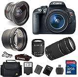 Canon T5i DSLR Camera + 18-55mm IS STM Lens + 75-300mm III Telephoto Lens + Wide Angle Lens +Telephoto Lens + 32GB Memory + Flash - International Version