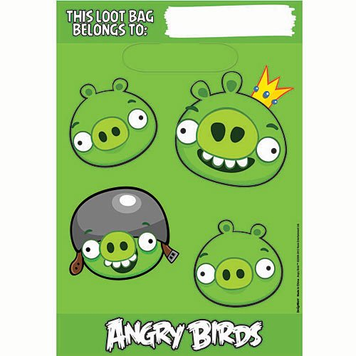 Angry Birds Loot Bags (8) Birthday Party Supplies Treat Favor Supplies - 1