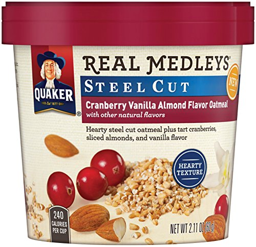 Quaker Real Medleys Instant Oatmeal, Steel Cut, Cranberry Vanilla Almond, Breakfast Cereal, 2.11oz Cup (Pack of 12 Cups) (Single Serve Steel Cut Oats compare prices)