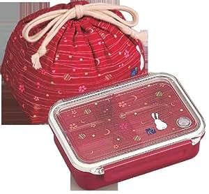 JDT.50R - Bento lunchbox 500ml - boite repas japonaise Tsuki Hana rouge + sac
