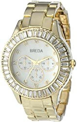 Breda Women's 2338-gold Brandi Square Rhinestone Bejeweled Watch