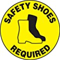 "Accuform Signs MFS205 Slip-Gard Adhesive Vinyl  Round Floor Sign, Legend ""SAFETY SHOES REQUIRED/SE REQUIEREN BOTAS DE SEGURIDAD"" with Graphic, 17"" Diameter, Black on Yellow"