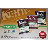 Kettle Brand Organic Chips - Box of 30 - 1.365 Oz Bags - 10 Sea Salt, 10 Country Style Barbeque and 10 Salt & Fresh Gound Pepper