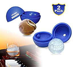 Ice Ball Maker Mold - Blue Silicone Ice Cube Tray for Star Wars Lovers - 5.5X 5.8cm Round Ice Ball Spheres for Baking and Cool Drinks_2 Pack