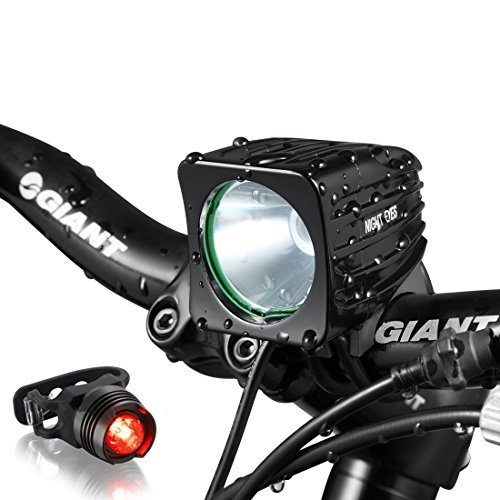 Night-Eyes-One-Week-Only1200-Lumens-Mountain-Bike-headlight-Bike-LED-Light-rechargeable-84V-6400mA-ABS-Waterproof-Battey-FREE-Aluminum-BikeTaillight-Bonus-NO-Tool-Required
