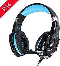 EasySMX [New Version Auriculares para PS4 PC] KOTION EACH G9000 Stereo Gaming Headset con Micrófono de Cancelación de Ruido y LED Iluminación en Línea del Controlador Compatible con PS4 PC Laptop Teléfonos Móviles y Tablet (Negro y Rojo)