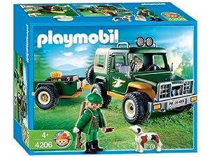 Playmobil - 4206 - La Vie à la ferme -  Garde forestier + Jeep + Remorque