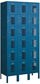 Salsbury Industries 76365BL-U Six Tier Box Style 3-Inch Wide 6-Feet High 15-Inch Deep Unassembled Vented Metal Locker, Blue