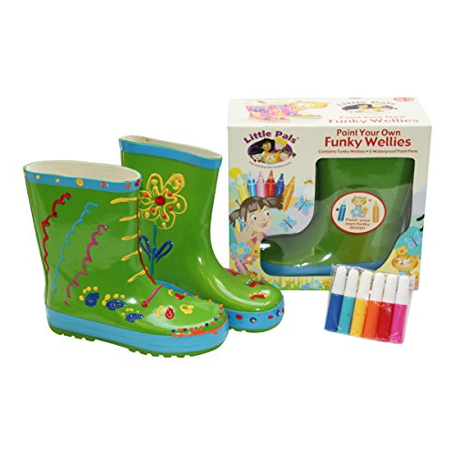 little-pals-paint-your-own-childrens-wellies-green-medium-with-12-fabric-paint-pens