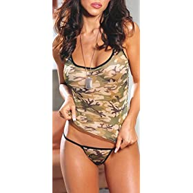 Dreamgirl Women's Camouflage Camisole and Matching Thong, Green, O/S