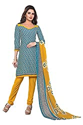 Fabgruh Presents Crepe Dress Material(Sky Blue,Cream)