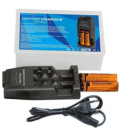 Fordex Group rechargeable puissant 18650 3000 mAh 3.7V Li-ion rechargeable + chargeur de batterie avec le Conseil de protection et une plus grande cap