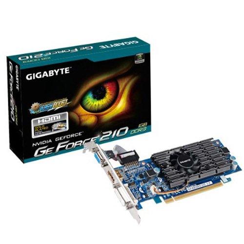 Gigabyte GF210 NVIDIA Grafikkarte (PCI-e, 1GB, GDDR3 Speicher, DVI, 1 GPU)