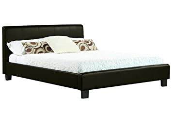 NEW 4ft BLACK MODERN FAUX SMALL DOUBLE LEATHER BED FRAME