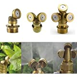 Sprayer Adjustable Brass Spray Misting Nozzle Agricultural Gardening Irrigation Lawn Equipment Sprinklers 3 Holes...