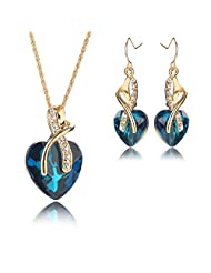 Silver Shoppee A Tender Heart Crystal And Cubic Zirconia Studded 18K Yellow Gold Plated Alloy Jewellery Set