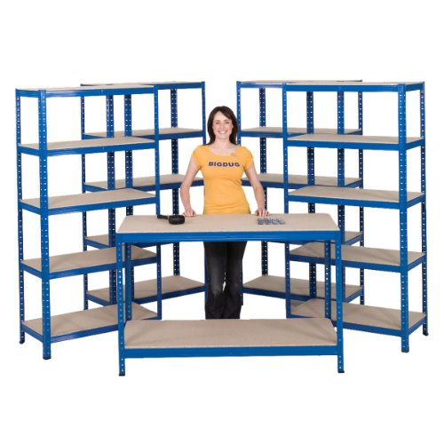 Garage or Workshop Starter Kit comprising 4 bays of shelving and 1 workbench.