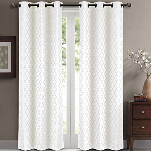 Willow Jacquard White Grommet Blackout Window Curtain Drapes, Pair / Set of 2 Panels, 42x96 inches Each, by Royal Hotel (Royal Hotel Drapes compare prices)