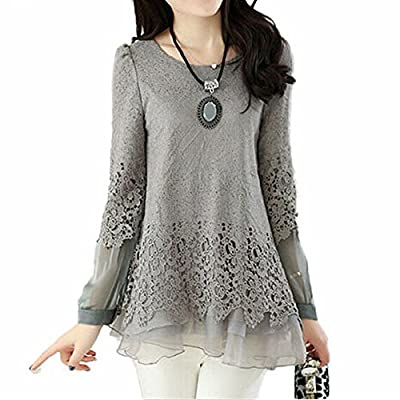 SODIAL(R)Autumn New Hot Women Gray Openwork Crochet Splicing Lace Round Neck Chiffon Shirt Ladies Blouses 2XL