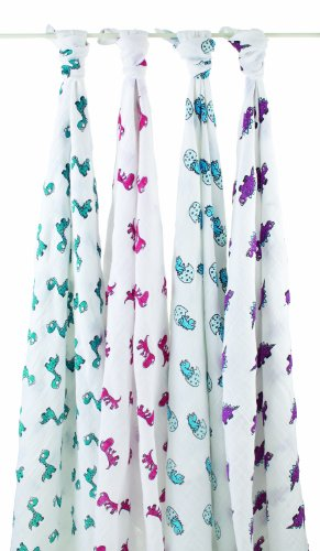 Aden + Anais Classic Muslin Swaddle Blanket 4 Pack, Dino-Mite