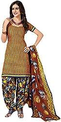 VM Trendz Women's Cotton Un-Stitched Salwar Suit (VMT-DP1055, Brown & Rangoli)