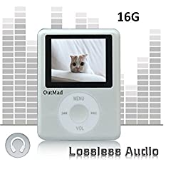 OutMad Silver Economic Mp3 Mp4 Player - 16GB Micro Sd Card Included - 1.81 LCD Slim Portable Mp3/mp4+ Mini Usb2.0 Cables