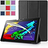 Lenovo Tab 2 A10 Case - HOTCOOL Ultra Slim Lightweight SmartCover Stand Case For 2015 Released Lenovo TAB 2 A10-70 Tablet(With Smart Cover Auto Wake/Sleep), Black