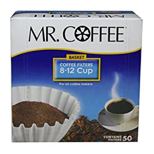 Mr. Coffee Basket Coffee Filters, 8-12 Cup, White Paper, 8-inch, 50-Count Boxes (Pack of... by Mr. Coffee