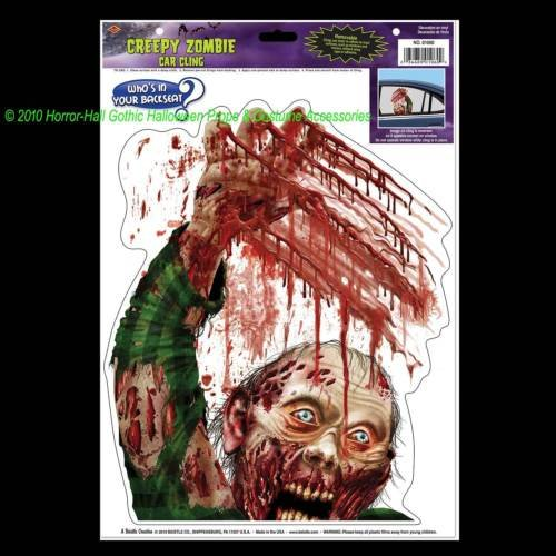 [Bloody Horror-ZOMBIE BACKSEAT DRIVER CLING-Walking Dead Car Decal Window Sticker] (Driver Seat Halloween Costume)