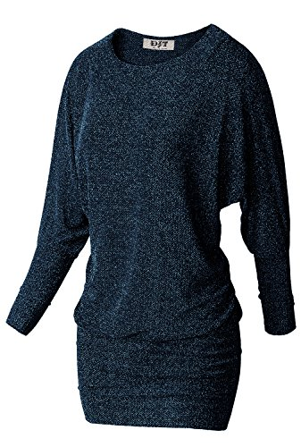 DJT Women Casual Batwing Long Sleeve Round Neck Slim Fit Stretchy Tunics Knitted T-Shirt Blouse Blue Large