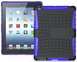 Heartly Flip Kick Stand Hard Dual Armor Hybrid Bumper Back Case Cover For Apple iPad Mini 2 and iPad Mini 3 Tablet With Retina Display - Purple