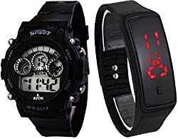 Pappi Boss Sports Watch Collections - Digital Black Dial Sports Watch & Unisex Silicone Black BUTTON LED Digital Watch for Boys, Girls, Men, Women & Kids