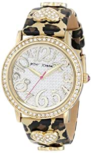 Betsey Johnson Women's BJ00231-01 Gold Crystal Set Case and Leopard Strap Watch