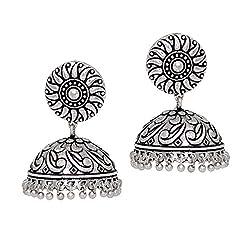 Jaipur Mart Oxidised Silver Tone Plated Jhumki Earrings For Women